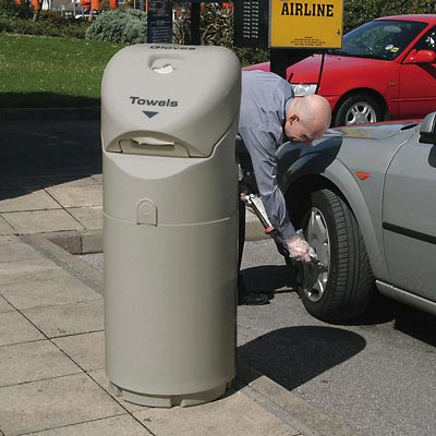 Auto-Mate Petrol Forecourt Bin in Grey.
