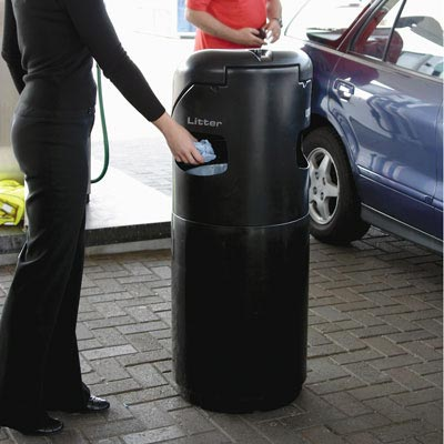 Auto-Mate Petrol Forecourt Bin in use.