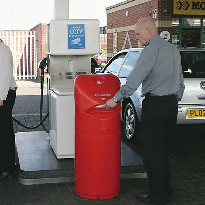 Auto-Mate Petrol Forecourt Bin in Red.