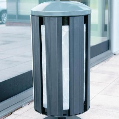 Fusion Litter Bin in Black with dome top and pedestal.