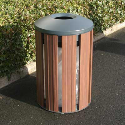 Fusion Litter Bin in Dark Wood with dome top.