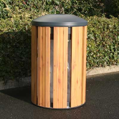 Fusion Litter Bin in Light Wood with dome top.