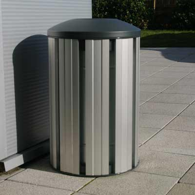 Fusion Litter Bin in Silver with dome top.