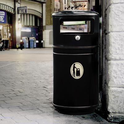 Metal Guppy Litter Bin in Black.