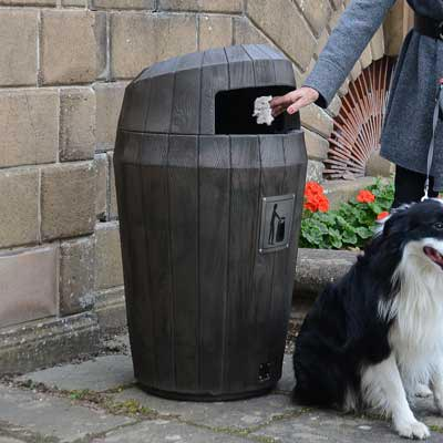 Sherwood Litter Bin in dark oak with a hooded top.
